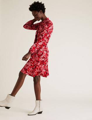 Marks and Spencer Jersey Floral Tie Neck Skater Dress