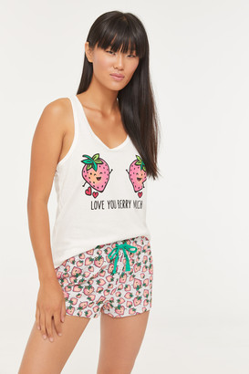 Ardene Strawberry Cami and Shorts PJ set