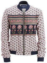 Aeropostale Womens Cape Juby Floral Print Bomber Jacket Multi-Color