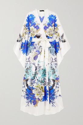 MENG Belted Floral-print Silk-satin Robe - White