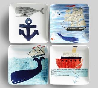 Pottery Barn Denise Fiedler Nautical Appetizer Plates, Set of 4 - Assorted