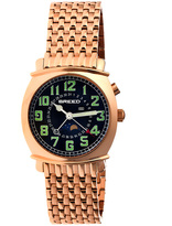 Breed Rose Goldtone & Black Ray Multifunction Bracelet Watch