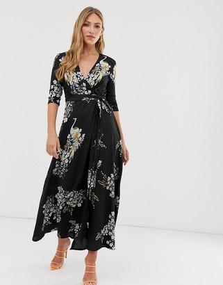 Liquorish wrap maxi dress in bird print-Black