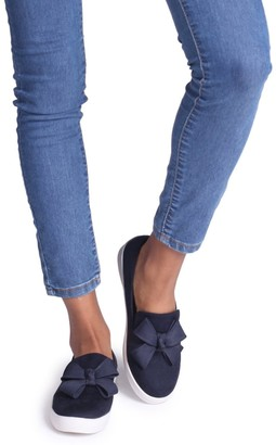 Linzi Chic Navy Suede Classic Slip On Skater With Organza Bow Front Detail