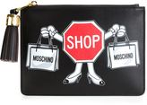Moschino shop sign clutch - women - Calf Leather - One Size