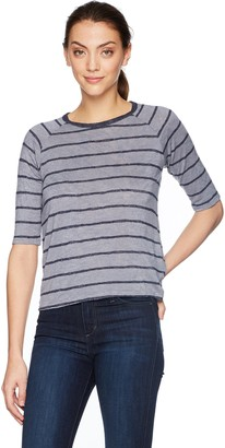 Velvet by Graham & Spencer Women's Kenia Stripe Textured Raglan Sleeve Tee