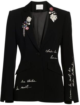 Cinq à Sept Cheyenne Embroidered Brooch Blazer Jacket