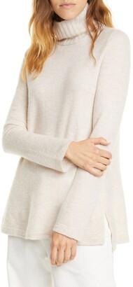 Vince Side Slit Cashmere Turtleneck Sweater