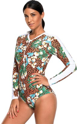 SZIVYSHI One Piece Long Sleeve Floral Colorblock Zipper Front Padded Cups Swimwear Swimsuit Bathing Suit Beach Wear Beachwear Swimming Suit Monokini Brown Leopard L