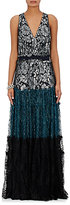 Lanvin Women's Colorblocked Lace Sleeveless Gown-BLACK