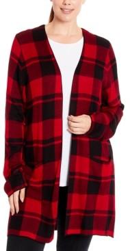 Joseph A Plus Size Plaid Open-Front Cardigan