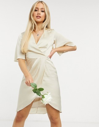 TFNC Bridesmaid satin wrap midi dress with kimono sleeve in mink