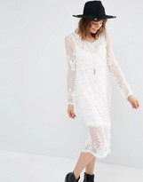 MANGO Embroidered Midi Dress