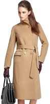 Icegrey Women's Stand Collar Notch Lapel Wool Cashmere Wrap Coat with Belt L