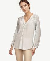 Ann Taylor Petite Deco Shirred V-Neck Blouse