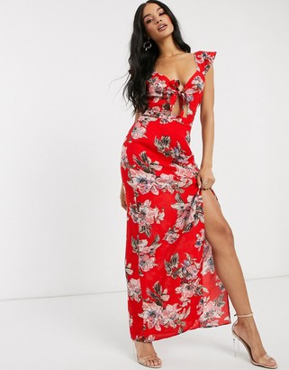 Pretty Darling tie front floral maxi dress