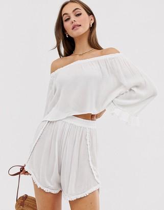 South Beach Crinkle Side Beach Shorts Co-Ord-White