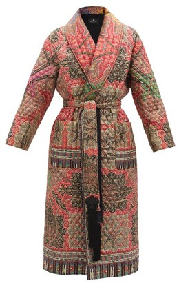Etro Don Belted Paisley-print Quilted Silk Jacket - Red Multi