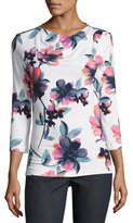 St. John Naveena Floral Print Jersey 3/4-Sleeve Top, White/Multi