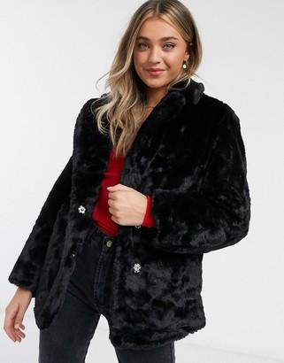 New Look fur coat in black