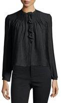 Isabel Marant Long-Sleeve Pintuck-Ruffle Blouse, Black