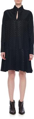 Tibi Dolman Tie-Neck Jacquard Shift Dress