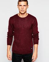 Cheap Monday Crew Jumper Chunky Knit Melange - Red