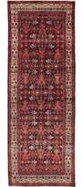 "Ecarpetgallery One-of-a-Kind Hamadan Hand-Knotted Runner 3'10"" x 9'10"" Wool Dark Navy/Light Red Area Rug"