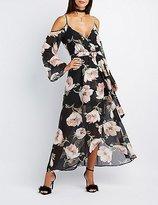 Charlotte Russe Floral Cold Shoulder Maxi Dress