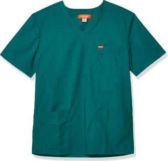 Orange Standard Men's Balboa V-Neck Unisex Scrub Top with Multiple Pockets and D-Ring