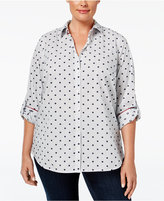 Charter Club Plus Size Printed Roll-Tab Shirt, Only at Macy's