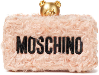 Moschino Leather-trimmed Faux Shearling Box Clutch