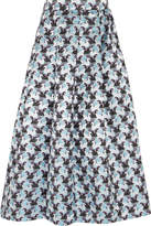Mary Katrantzou Bowles Metallic Jacquard Midi Skirt - Silver