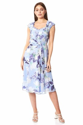 Roman Originals Women Floral Fit and Flare Belted Dress - Ladies Occasionwear Evening Cocktails Spring Summer Ascot Race Day Holiday Wedding Guest Sleeveless Skater Dress - Lilac - Size 18
