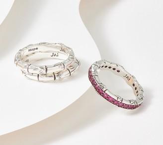 JAI Sterling Silver Gemstone Stacks of Strength Set of 3 Rings