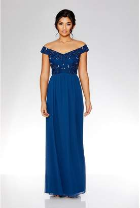 Quiz Midnight Blue Bardot Embellished Maxi Dress
