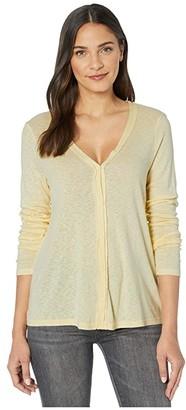 Michael Stars Lyla 1x1 Slub Button Front Swing Cardigan (Lemonade) Women's Clothing