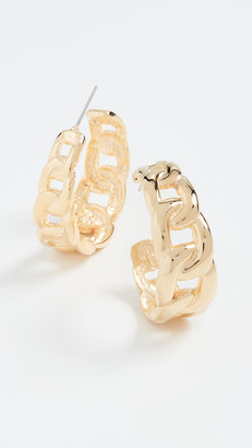 Kenneth Jay Lane Polished Gold Link Hoop Earrings