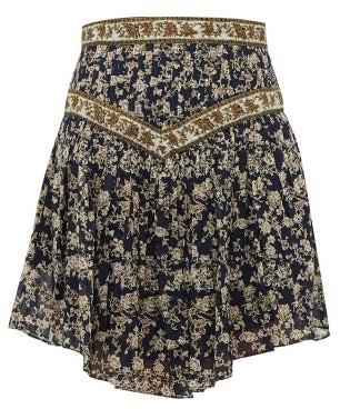 Etoile Isabel Marant Valerie Floral-print Cotton Mini Skirt - Womens - Navy Multi