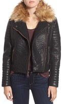 Andrew Marc 'Vanessa' Faux Leather Moto Jacket with Removable Faux Fur Collar