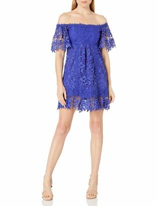 Nicole Miller Women's Lace Combos Off The Shoulder Dress