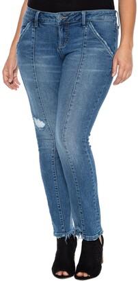SLINK Jeans Front Seam Frayed Cigarette Leg - YARELI