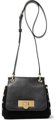 Donna Karan Studded Suede And Pebbled-leather Shoulder Bag