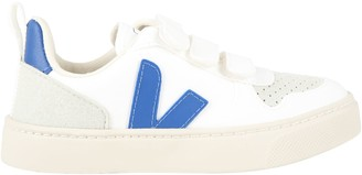 Veja White Sneakers For Kids With Blue Logo