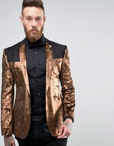 Asos Super Skinny Blazer In Bronze Velvet