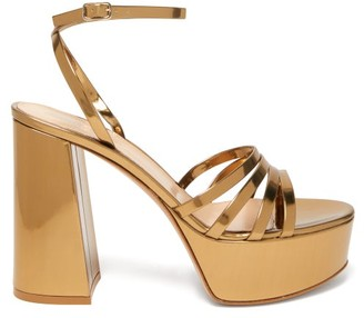 Gianvito Rossi Angelica 70 Leather Platform Sandals - Gold