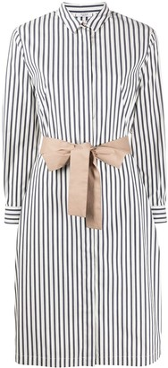 Peserico Waist-Tied Striped Shirt Dress