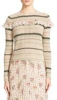 RED Valentino Women's Ruffle Crochet Cotton Sweater