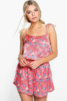 boohoo Molly Tie Strap China Floral Satin Vest + Short Set coral