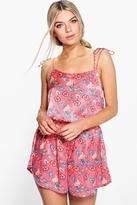 Boohoo Molly Tie Strap China Floral Satin Vest + Short Set